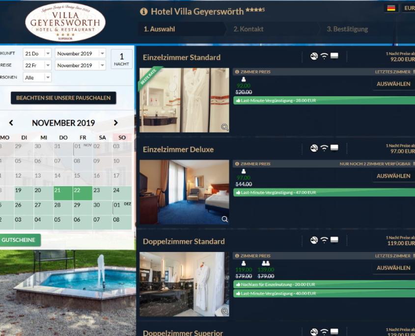 Hotel Buchungssystem und Buchungsmaske von Hot-Tec